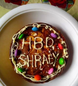 my first attempt to bake a cake for Shraey on his birthday - shaheen
